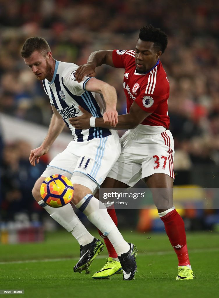 Chris Brunt of West Bromwich Albion is challenged by Adama Traore of Middlesbrough during the Premier League match between Middlesbrough and West Bromwich Albion at Riverside Stadium on January 31, 2017 in Middlesbrough, England.