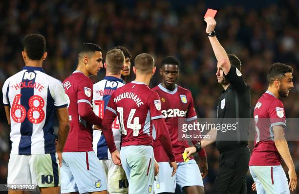 Chris Brunt of West Bromwich Albion is shown a red card by referee Chris Kavanagh and is sent off during the Sky Bet Championship Playoff semi final...