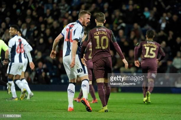 Chris Brunt of West Bromwich Albion reacts following a penalty miss by Bersant Celina of Swansea City during the game between West Bromwich Albion...