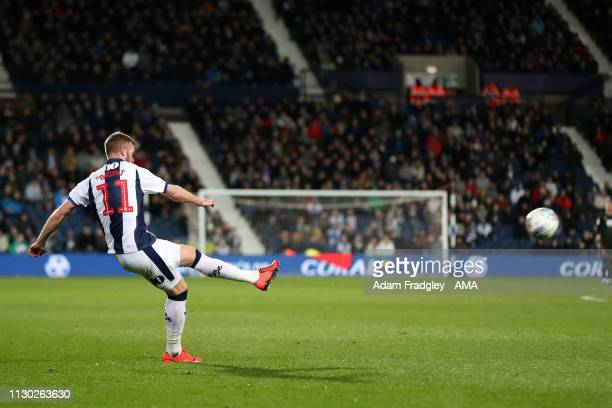 Chris Brunt of West Bromwich Albion scores a goal to make it 10 from a free kick during the Sky Bet Championship match between West Bromwich Albion v...