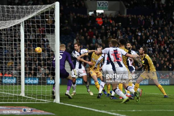 Chris Brunt of West Bromwich Albion scores a goal to make it 11 during the Sky Bet Championship match between West Bromwich Albion and Sheffield...
