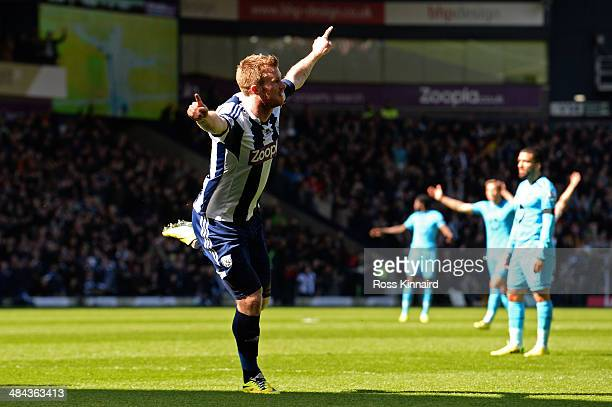Chris Brunt of West Bromwich celebrates after scoring his team's second goal during the Barclays Premier League match between West Bromwich Albion...