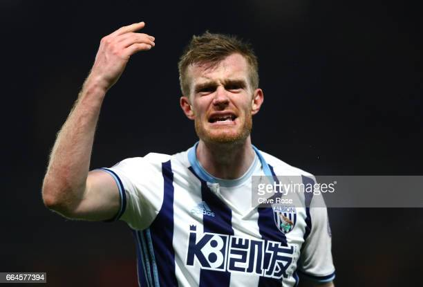 Chris Brunt of West romwich Albion reacts during the Premier League match between Watford and West Bromwich Albion at Vicarage Road on April 4 2017...