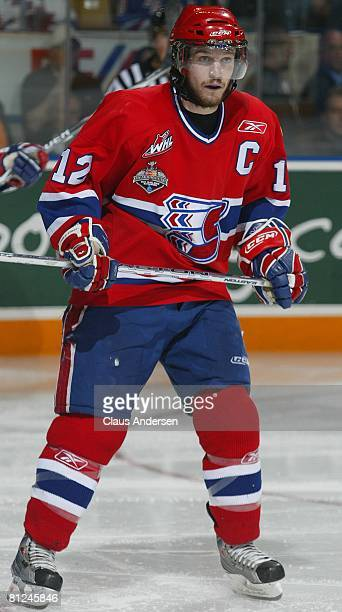 Chris Bruton of the Spokane Chiefs skates against the Kitchener Rangers in the Memorial Cup Championship game on May 25 2008 at the Kitchener...