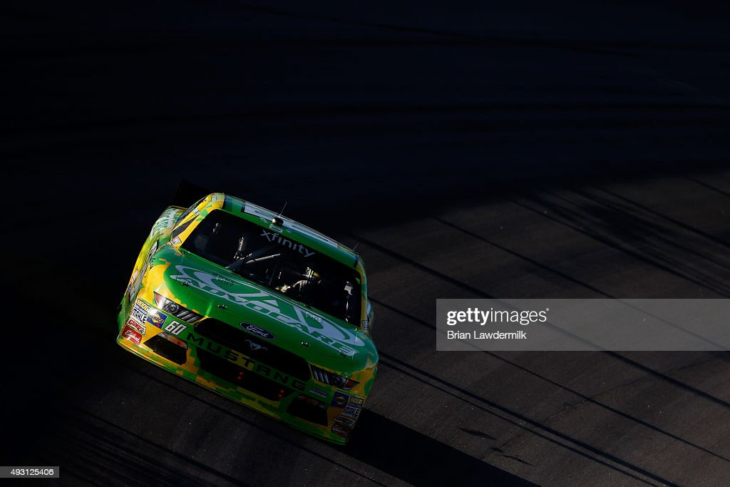Chris Buescher, driver of the #60 AdvoCare Ford, races during the NASCAR XFINITY Series Kansas Lottery 300 at Kansas Speedway on October 17, 2015 in Kansas City, Kansas.
