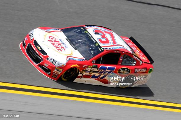 Chris Buescher driver of the Coffee Mate Chevy dduring practice for the Coke Zero 400 Monster Energy Cup Series race on June 29 at Daytona...