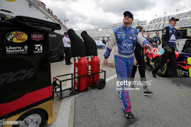 Chris Buescher driver of the JTG Daugherty Racing Kleenex Wet Wipes Chevrolet Camaro during final practice for the Daytona 500 on February 16 2019 at...