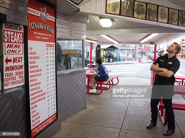 Chris Buescher orders a cheesesteak at Pat's King of Steaks on December 14 2015 in Philadelphia Pennsylvania