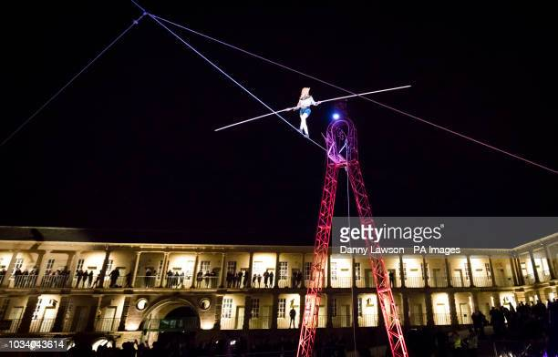 Chris Bullzini recreates a high wire performance from 1861 when the 'King of the tightrope' Charles Blondin made a spectacular walk across a high...