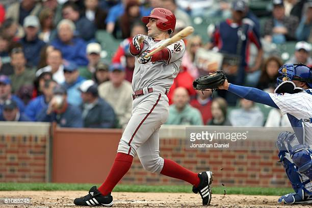 Chris Burke of the Arizona Diamondbacks swings at a pitch during the game against the Chicago Cubs on May 9 2008 at Wrigley Field in Chicago Illinois...