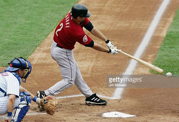 Chris Burke of the Houston Astros bats against the New York Mets on July 23 2006 at Shea Stadium in the Flushing neighborhood of the Queens borough...