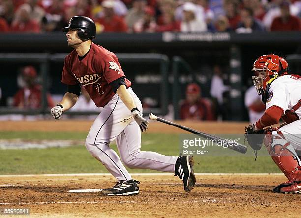 Chris Burke of the Houston Astros follows through on one of his two hits against the St Louis Cardinals in Game Two of the 2005 National League...