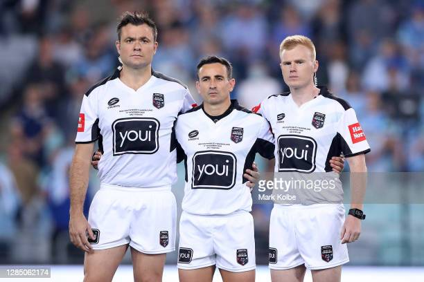 Chris Butler, Gerard Sutton and Todd Smith look on during game two of the 2020 State of Origin series between the New South Wales Blues and the...