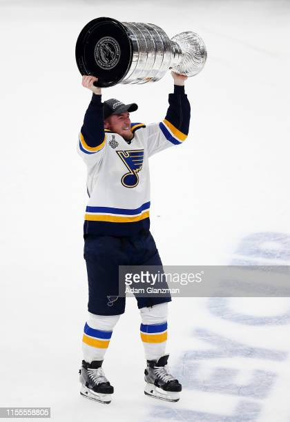 Chris Butler of the St Louis Blues celebrates with the Stanley cup after defeating the Boston Bruins in Game Seven of the 2019 NHL Stanley Cup Final...