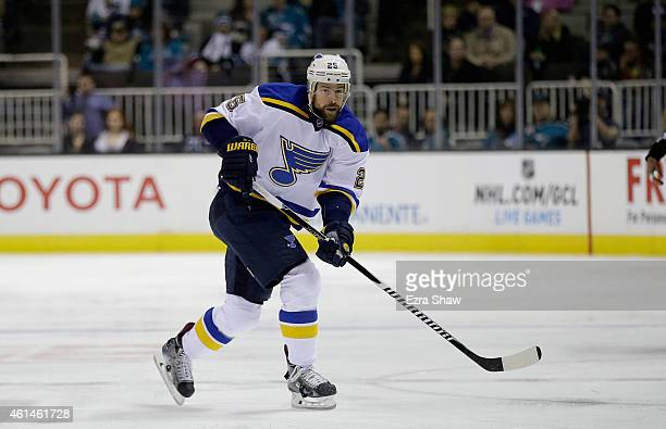 Chris Butler of the St Louis Blues in action against the San Jose Sharks at SAP Center on January 3 2015 in San Jose California
