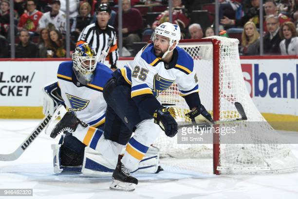 Chris Butler of the St Louis Blues watches for the puck in the third period against the Chicago Blackhawks at the United Center on April 6 2018 in...