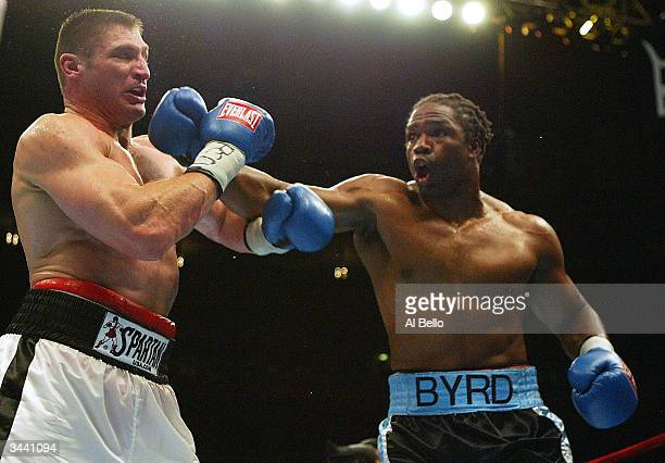 Chris Byrd hits Andrew Golota during their IBF Heavyweight Championship fight on April 17 2004 at Madison Square Garden in New York City