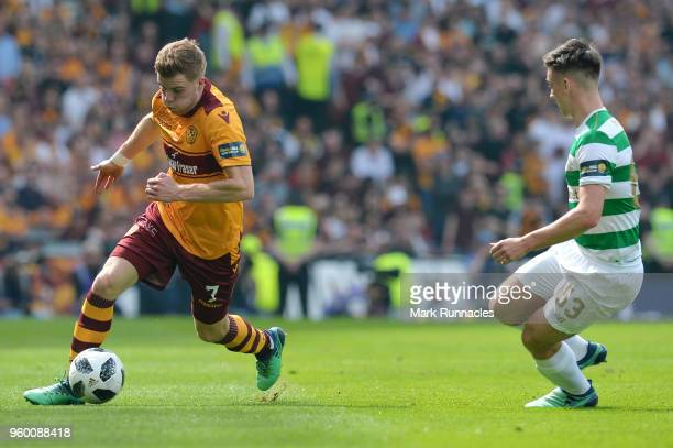 Chris Cadden of Motherwell and Kieran Tierney of Celtic batte for possession during the Scottish Cup Final between Motherwell and Celtic at Hampden...
