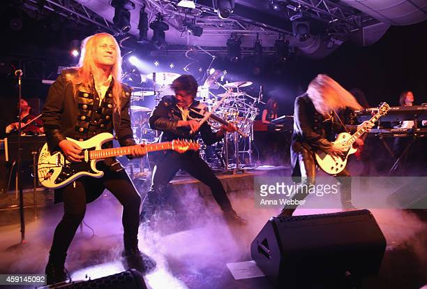 Chris Caffery Roddy Chong and Joel Hoekstra of TransSiberian Orchestra perform onstage during an exclusive performance at The iHeartRadio Theater in...