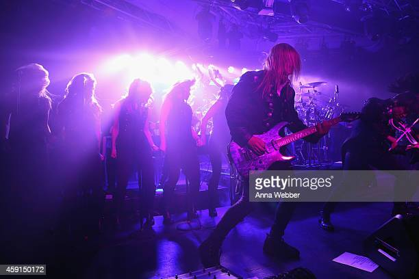 Chris Caffery Roddy Chong and members of TransSiberian Orchestra perform onstage during an exclusive performance at The iHeartRadio Theater in New...