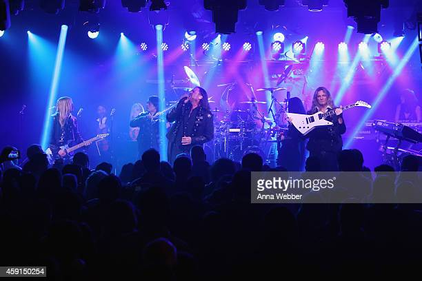 Chris Caffery Roddy Chong Joel Hoekstra and members of TransSiberian Orchestra perform onstage during an exclusive performance at The iHeartRadio...