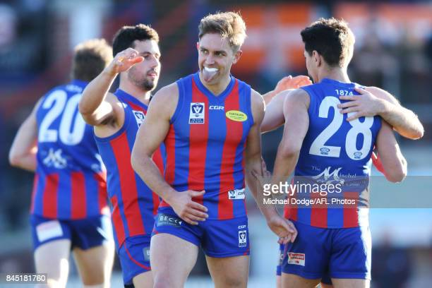 Chris Cain of Port Melbourne celebrates a goal during the VFL Semi Final match between Port Melbourne and Footscray at Fortburn Stadium on September...