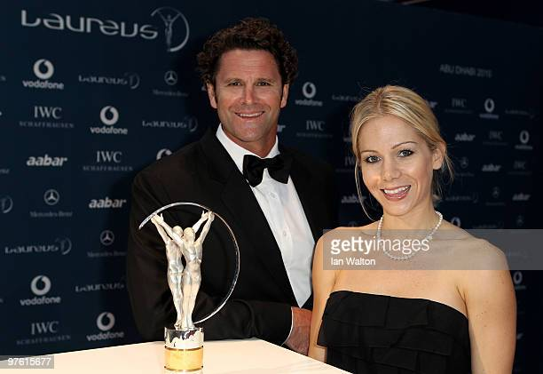 Chris Cairns and guest arrive at the Laureus World Sports Awards 2010 at Emirates Palace Hotel on March 10 2010 in Abu Dhabi United Arab Emirates