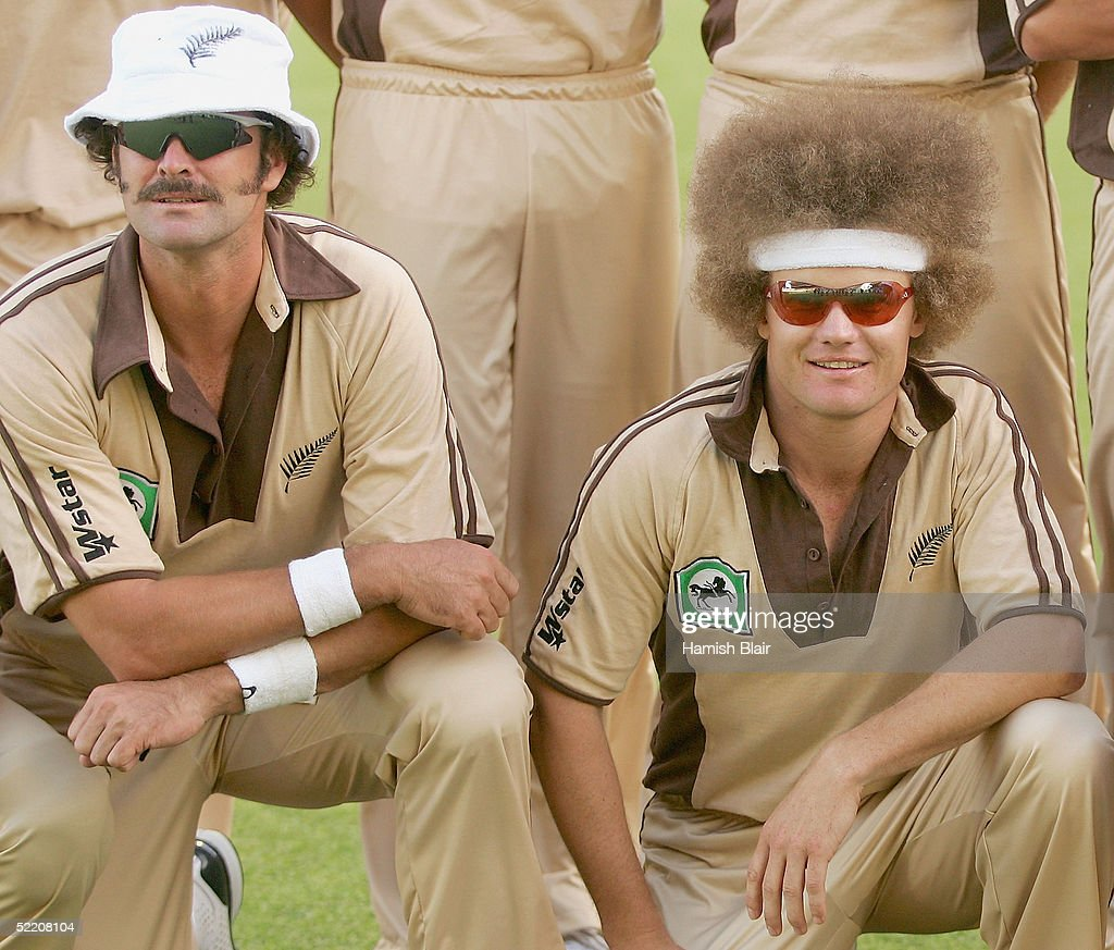 Chris Cairns and Hamish Marshall of New Zealand pose in their retro 80s uniforms before the Twenty20 International Match between New Zealand and Australia played at Eden Park on February 17, 2005 in Auckland, New Zealand