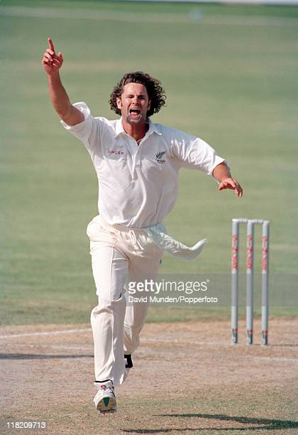 Chris Cairns in action for New Zealand during the Singer Tournament at Sharjah Stadium in the United Arab Emirates 1996