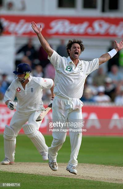 Chris Cairns of New Zealand appeals for and gets the wicket of Andrew Flintoff of England during the 3rd Test between England and New Zealand at...