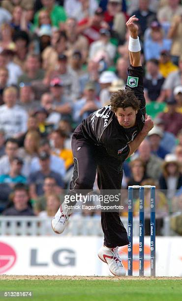 Chris Cairns of New Zealand bowling during the ICC Champions Trophy match between Australia and New Zealand The Oval London 16th September 2004...