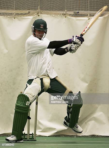Chris Cairns of Nottinghamshire practises in the nets before the Liverpool Victoria County Championship Division One match between Nottinghamshire...