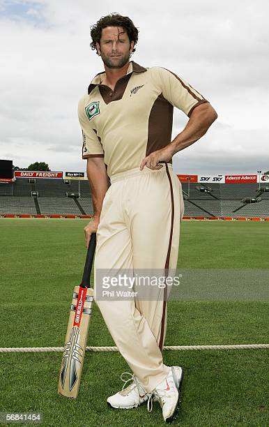 Chris Cairns of the New Zealand cricket team poses in a retro style outfit at Eden Park February 14 2006 in Auckland New Zealand New Zealand play a...