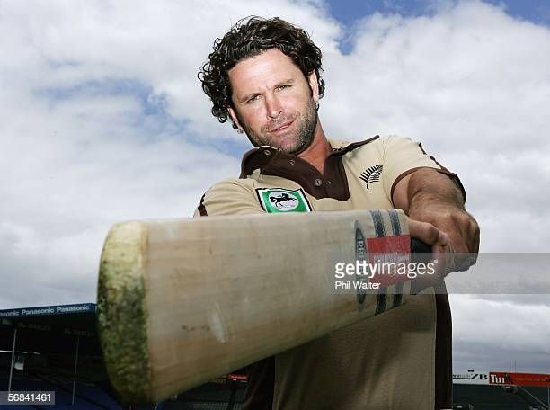 Chris Cairns of the New Zealand cricket team poses wearing a retro style outfit at Eden Park February 14 2006 in Auckland New Zealand New Zealand...