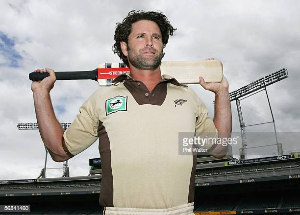 Chris Cairns of the New Zealand cricket team wearing a retro style outfit at Eden Park February 14 2006 in Auckland New Zealand New Zealand play a...