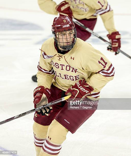 Chris Calnan of the Boston College Eagles skates against the Harvard Crimson during NCAA hockey at Kelley Rink on November 11, 2014 in Chestnut Hill,...