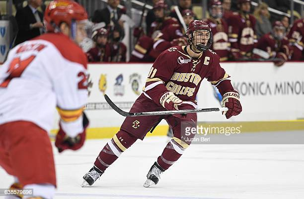 Chris Calnan of the Boston College Eagles skates in the third period during the consolation game of the Three Rivers Classic hockey tournament at PPG...