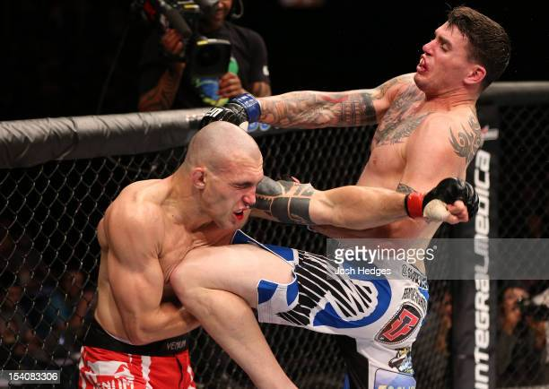 Chris Camozzi delivers a knee strike against Luiz Cane during their middleweight fight at UFC 153 inside HSBC Arena on October 13 2012 in Rio de...