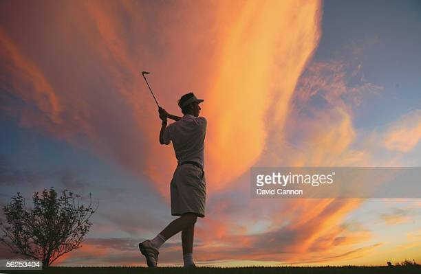 Chris Cannon of England hits his second shot at the par 4 12th hole on the Faldo Course at the Marriott Desert Ridge Resort on October 26 2005 in...