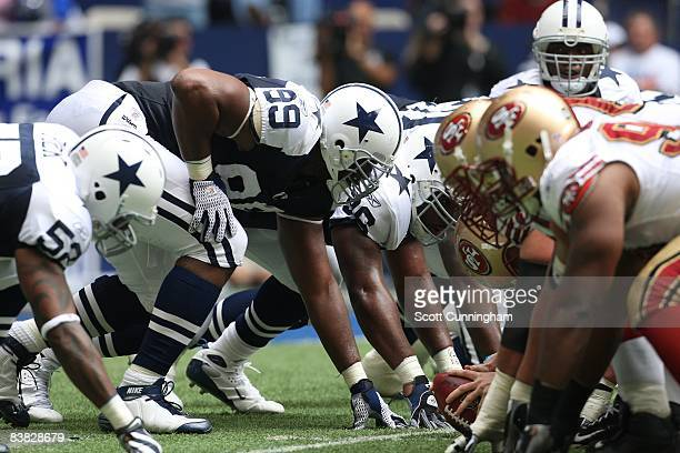 Chris Canty of the Dallas Cowboys lines up against the San Francisco 49ers at Texas Stadium on November 23 2008 in Irving Texas