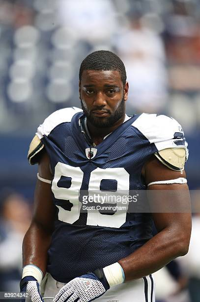 Chris Canty of the Dallas Cowboys warms up before the game against the San Francisco 49ers at Texas Stadium on November 23 2008 in Irving Texas