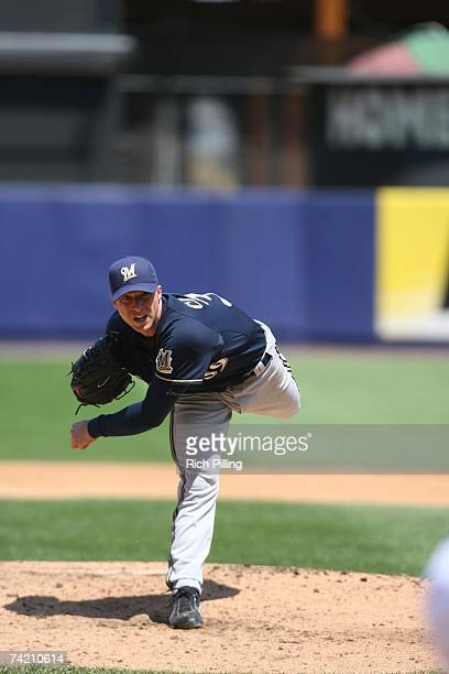 Chris Capuano of the Milwaukee Brewers pitches during the game against the New York Mets at Shea Stadium in Flushing New York on May 13 2007 The Mets...