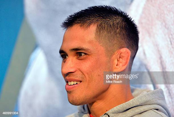 Chris Cariaso interacts with media during the UFC 185 Ultimate Media Day at the American Airlines Center on March 12 2015 in Dallas Texas