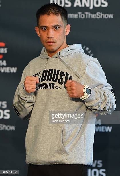 Chris Cariaso poses for photos during the UFC 185 Ultimate Media Day at the American Airlines Center on March 12 2015 in Dallas Texas