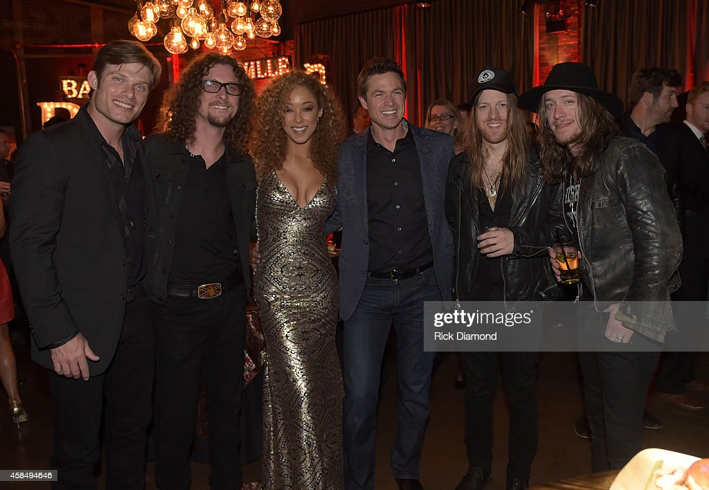Chris Carmack, Kelby Ray of The Cadillac Three, Chaley Rose, Eric Close, and Neil Mason and Jaren Johnston of The Cadillac Three attend the Big Machine Label Group Celebrates The 48th Annual CMA Awards in Nashville on November 5, 2014 in Nashville, Tennessee.