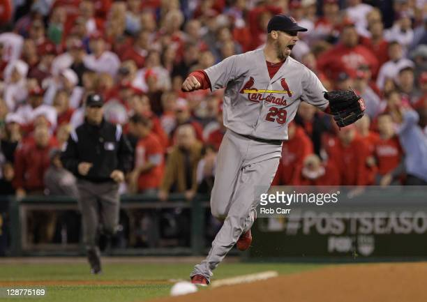 Chris Carpenter of the St. Louis Cardinals reacts after final out of the Cardinals 1-0 win against the Philadelphia Phillies during Game Five of the...