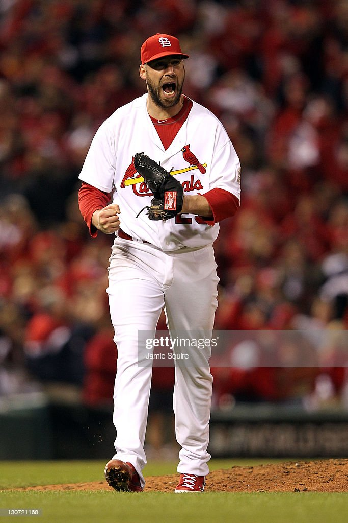 Chris Carpenter #29 of the St. Louis Cardinals reacts after striking out Michael Young #10 of the Texas Rangers to end the top of the fifth inning during Game Seven of the MLB World Series at Busch Stadium on October 28, 2011 in St Louis, Missouri.