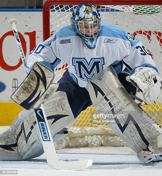 Chris Carrozzi of the Mississauga StMichaels Majors watches for a shot in a game against the London Knights on January 11 2009 at the John Labatt...