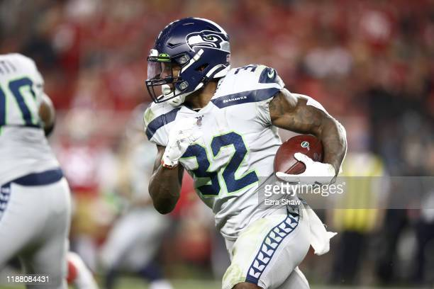 Chris Carson of the Seattle Seahawks in action against the San Francisco 49ers at Levi's Stadium on November 11, 2019 in Santa Clara, California.