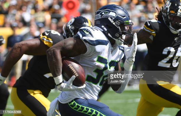 Chris Carson of the Seattle Seahawks in action during the game against the Pittsburgh Steelers at Heinz Field on September 15 2019 in Pittsburgh...